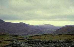 Hardknott fort dominating Eskdale; view seaward
