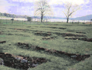 Ambleside Roman Fort showing relation between site and lake Windermere