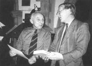 The late Peter Gaskins (l.), and Richard Hall, then CWAAS Gen. Sec., discuss the newly-launched book.
